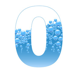 Bubbles and Water Isolated Alphabet Number Zero 0