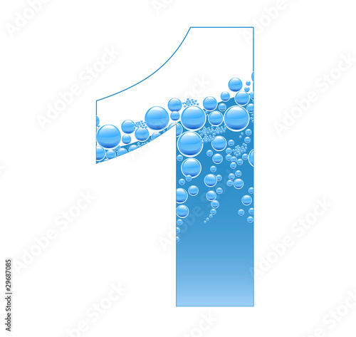 Bubbles and Water Isolated Alphabet Number One 1