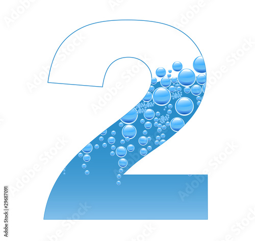 Bubbles and Water Isolated Alphabet Number Two 2