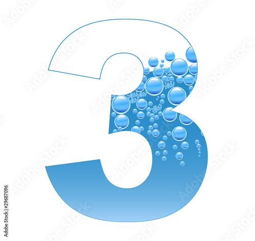 Bubbles and Water Isolated Alphabet Number Three 3