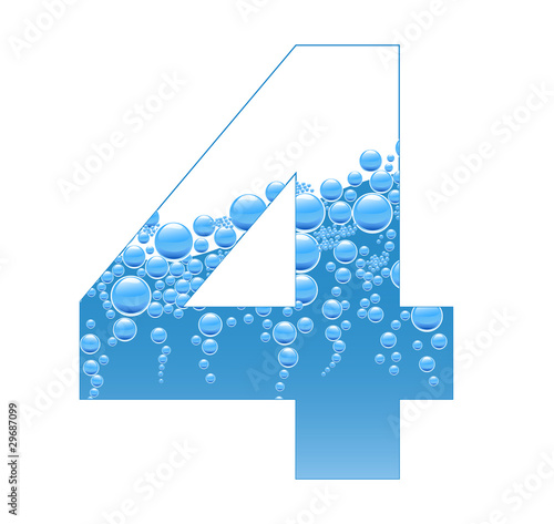 Bubbles and Water Isolated Alphabet Number Four 4