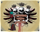Heraldic composition with the skull, ribbons and wings