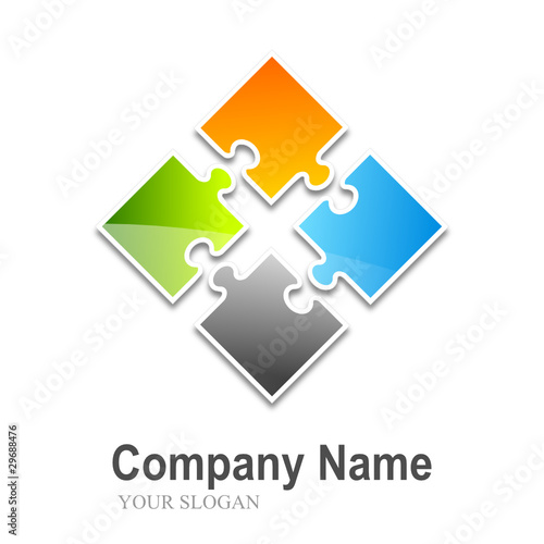 logo puzzle (4 pieces split multi-colors)