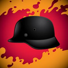 Old black war helmet background.