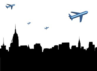abstract planes departing Midtown Manhattan illustration