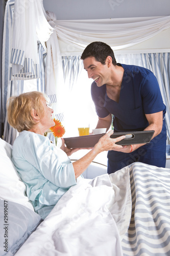 Happy patient with a nurse
