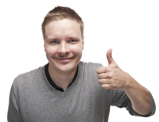 Smiling man with a funny mustache giving the Thumb Up sign.