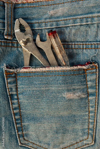tools in jean pocket.