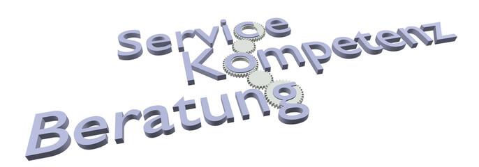 Service - Kompetenz - Beratung (Bild, Blau)
