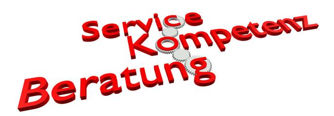Service - Kompetenz - Beratung (Bild, Rot)