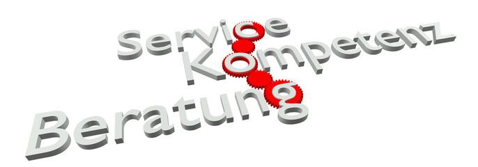 Service - Kompetenz - Beratung (Bild, Weiß)