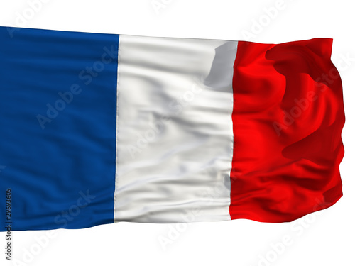 Flag of France, fluttered in the wind