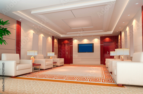 3d reception room rendering.