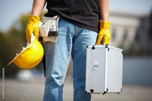 builder with tool case