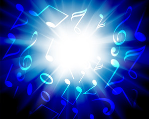 Abstract lights background with music notes and sunburst
