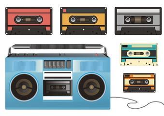 Ретро магнитофон и кассеты