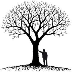 persona appoggiata all'albero