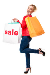 Beautiful Young Woman Holding Sale Shopping Bags