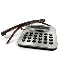 Taschenrechner mit Brille