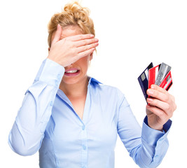Credit Crunch - Young Woman with Money Problems