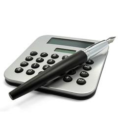 Taschenrechner mit Füller