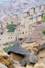 Dogon village and granaries along cliff face