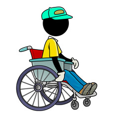 Silhouette-man healthcare icon - on wheelchair