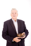 Older Caucasian Man Holding Wooden Bowl, Isolated