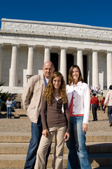 Three People Family Vacation Lincoln Memorial USA