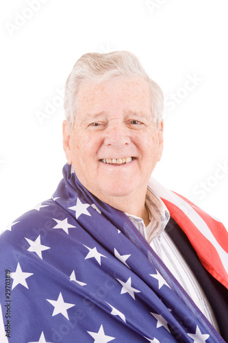 Patriotic Senior Man Wrap American Flag Isolated
