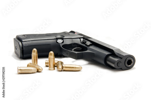 firearm with ammunition in white background