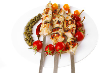 grilled pork shish kebab
