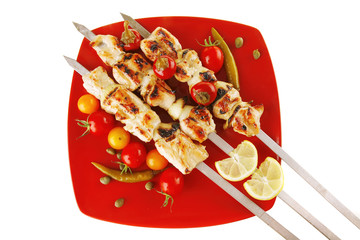 chicken shish kebab with vegetables