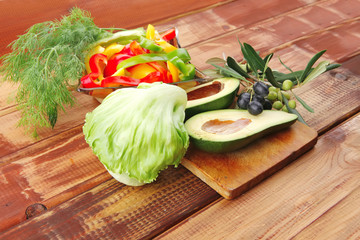 ripe vegetables on wood