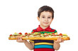 Boy holds a long sandwich
