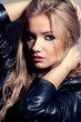 stock photo : closeup beautiful blonde woman portrait, rock style.
