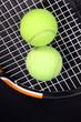 Постер, плакат: Теннисные мячи и ракетка