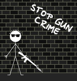 Stop gun crime message on urban brick wall