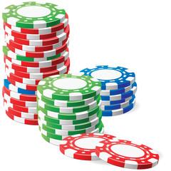 Jetons de casino: Trois piles sur la table, vert, bleu, rouge