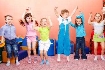 Preschoolers jumping