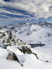 Panorama of the Tatra Mountains on the tourist trail Orla Perc