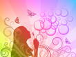 Rainbow background with girl silhouette blowing soap bubbles