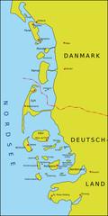 Karte Nordfriesische Inseln