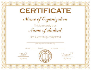 Certificate with 3 additional color variations on hidden layers