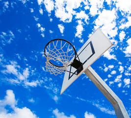 Basket hoop against a summer sky