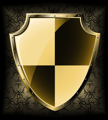 Gold shield over dark seamless background