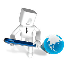 one 3d business man holding globe on spoon