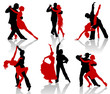 Silhouettes of the pairs dancing ballroom dances. Tango. - 29719012