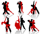 Fototapety Silhouettes of the pairs dancing ballroom dances. Tango.