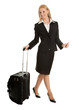 Cheerful businesswomen with travel bag